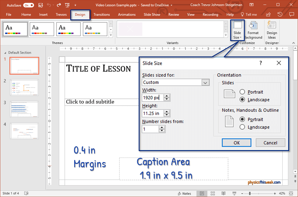 Setting up your slides to include margins, a space for captions, and the proper slide resolution will improve your video lesson
