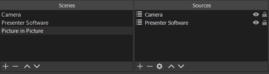 The picture in picture scene contains the camera and presenter software scene.